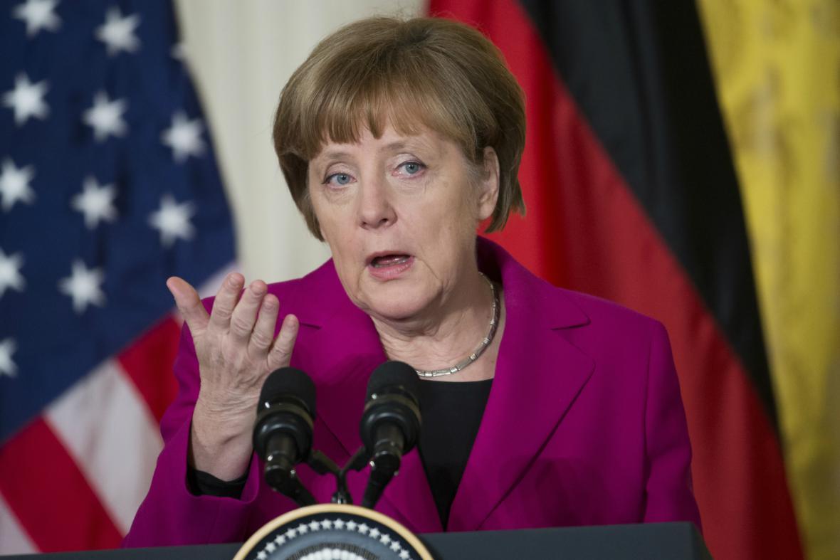 Angela Merkelová po jednání v Bílém domě