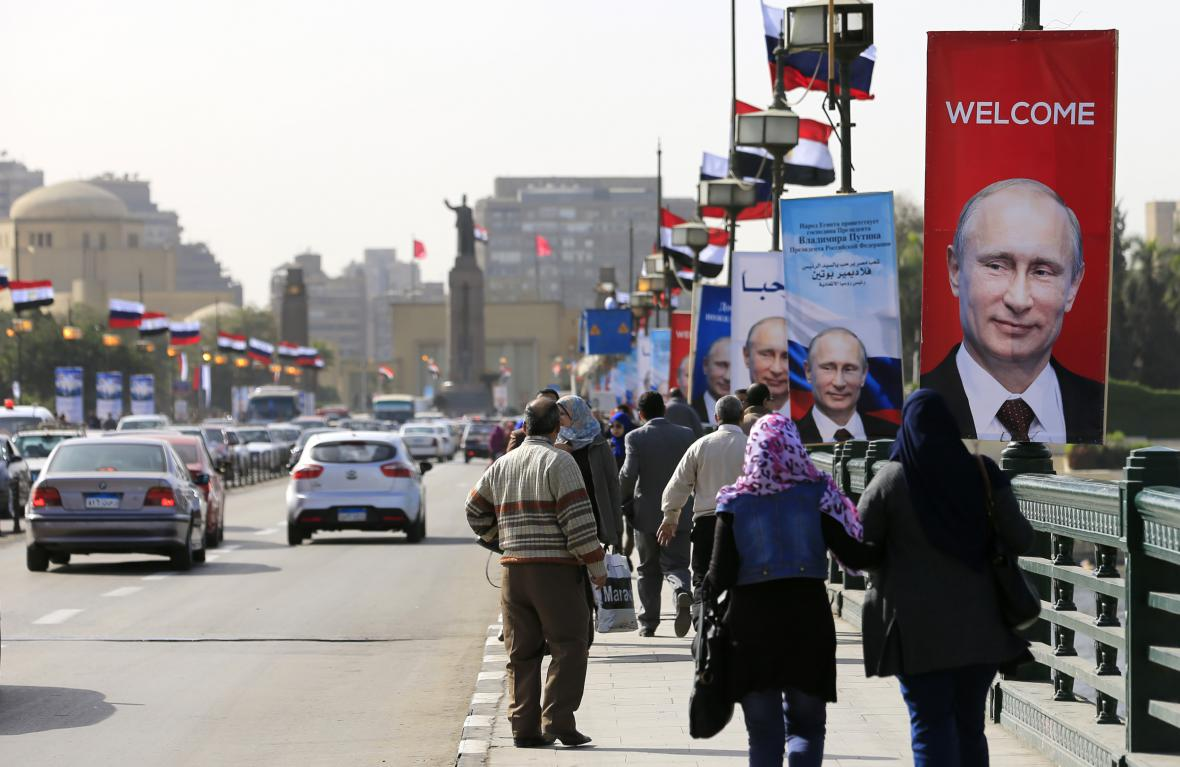 Káhira vítá Vladimira Putina
