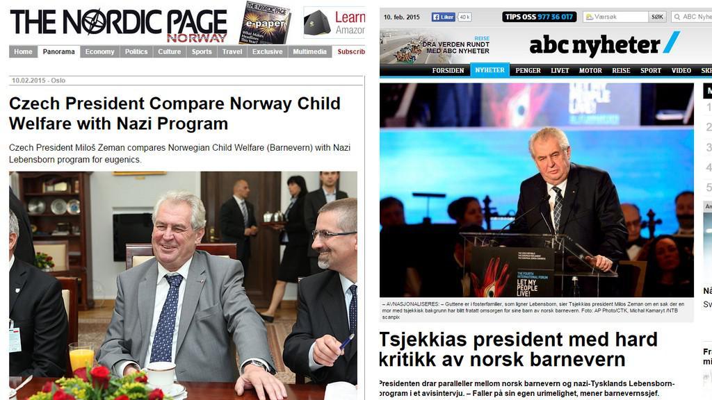 Zemanův výrok zaujal norská média