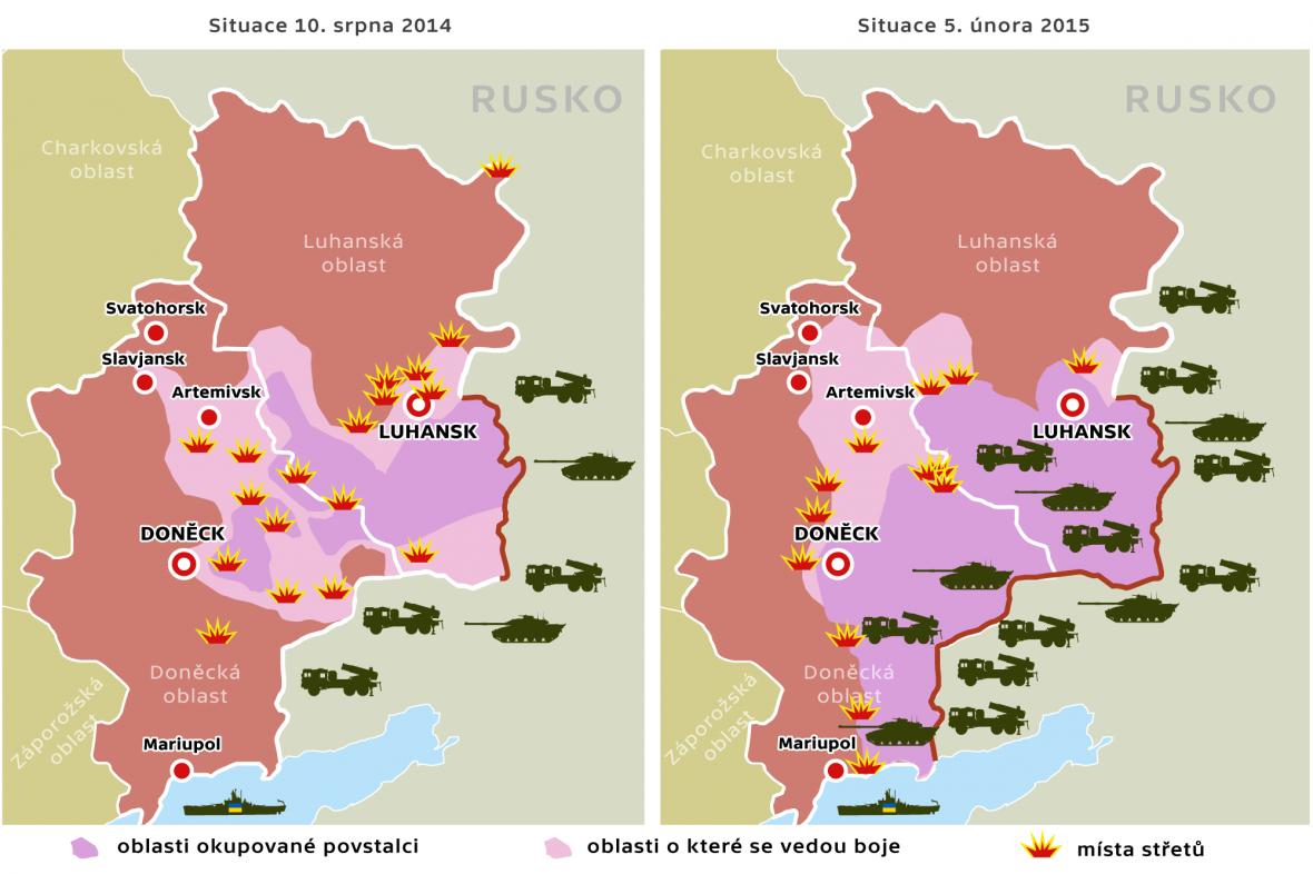 Porovnání vývoje na východní Ukrajině – mapa