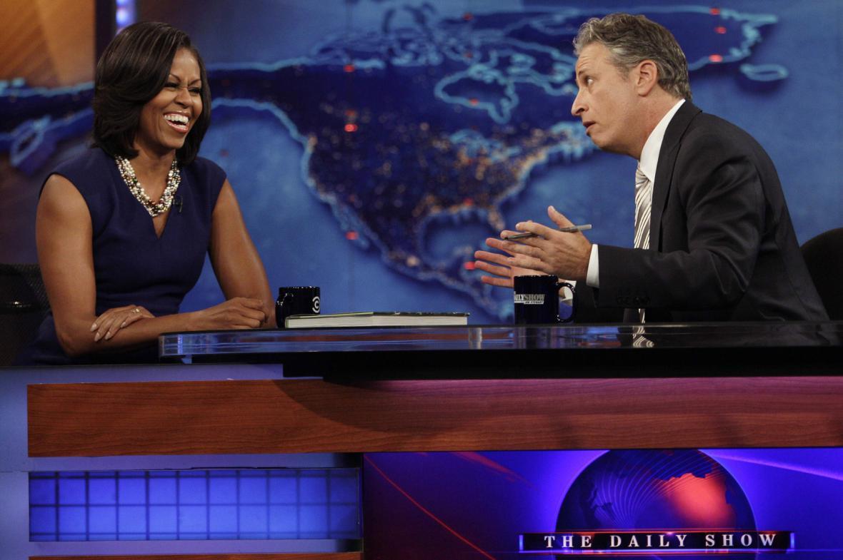 Michelle Obamová a Jon Stewart