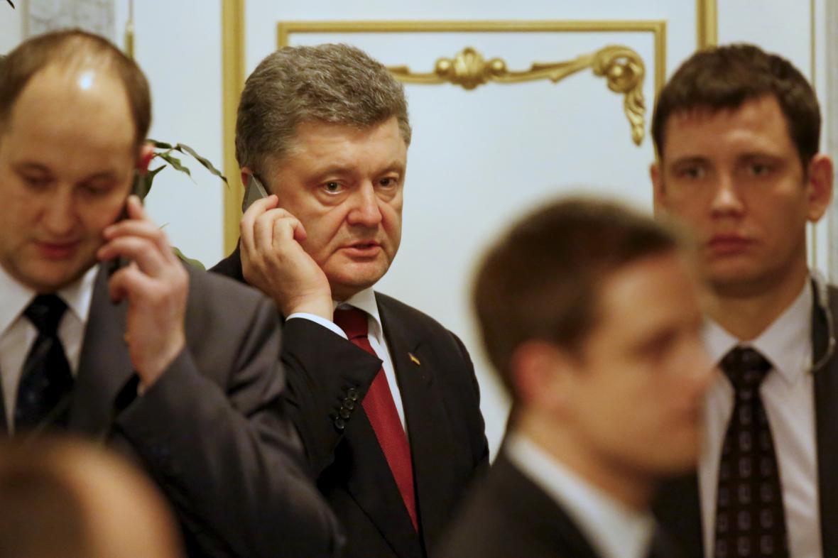 Ukrajinský prezident na summitu v Minsku