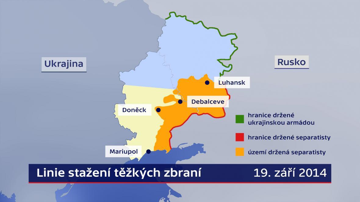 Ukrajina - linie stažení těžkých zbraní 19.9.2014