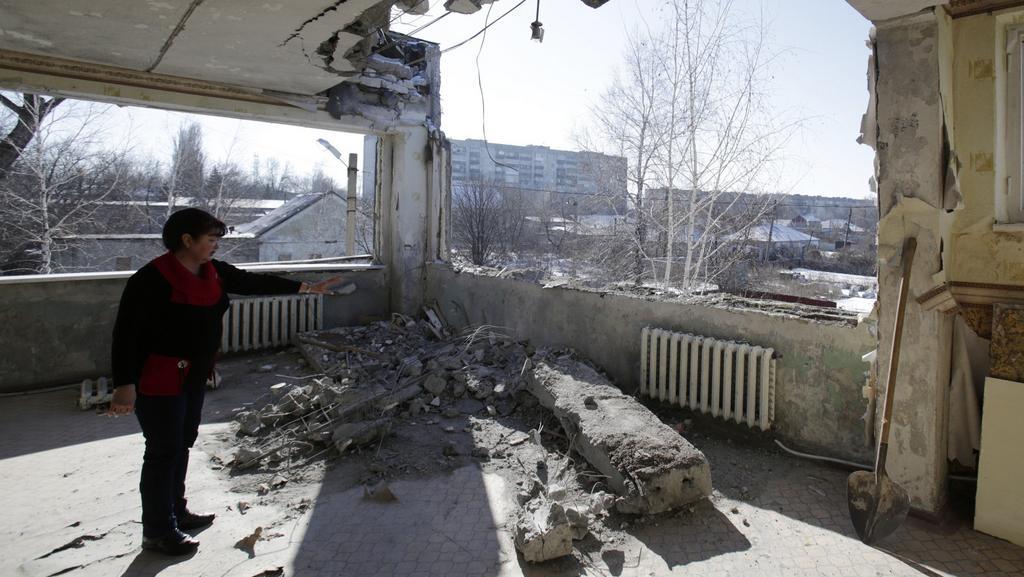 Následky ostřelování v Debalceve