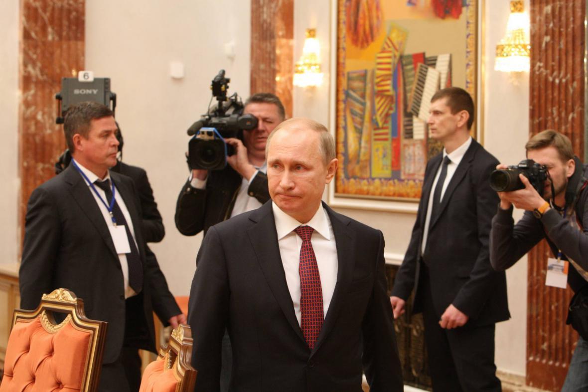 Ruský prezident Vladimir Putin na jednání v Minsku