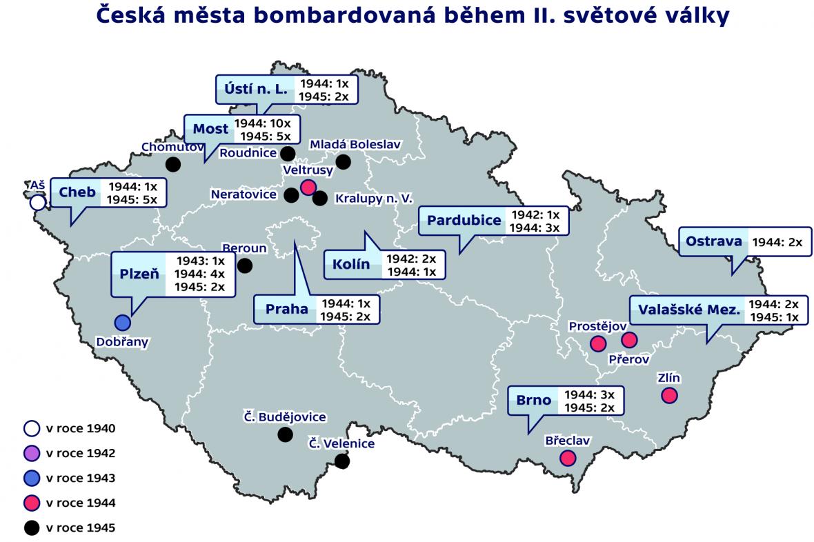 Česká města bombardovaná během II. světové války