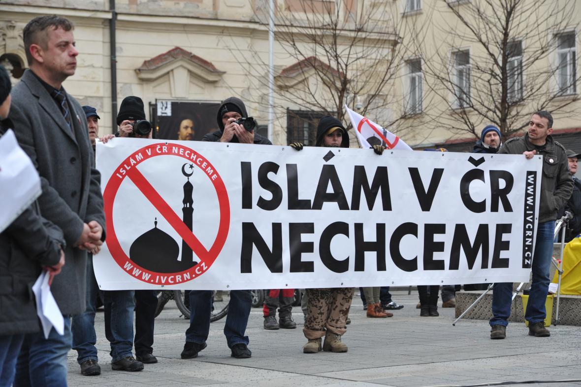 Brněnská demonstrace iniciativy Islám v ČR nechceme