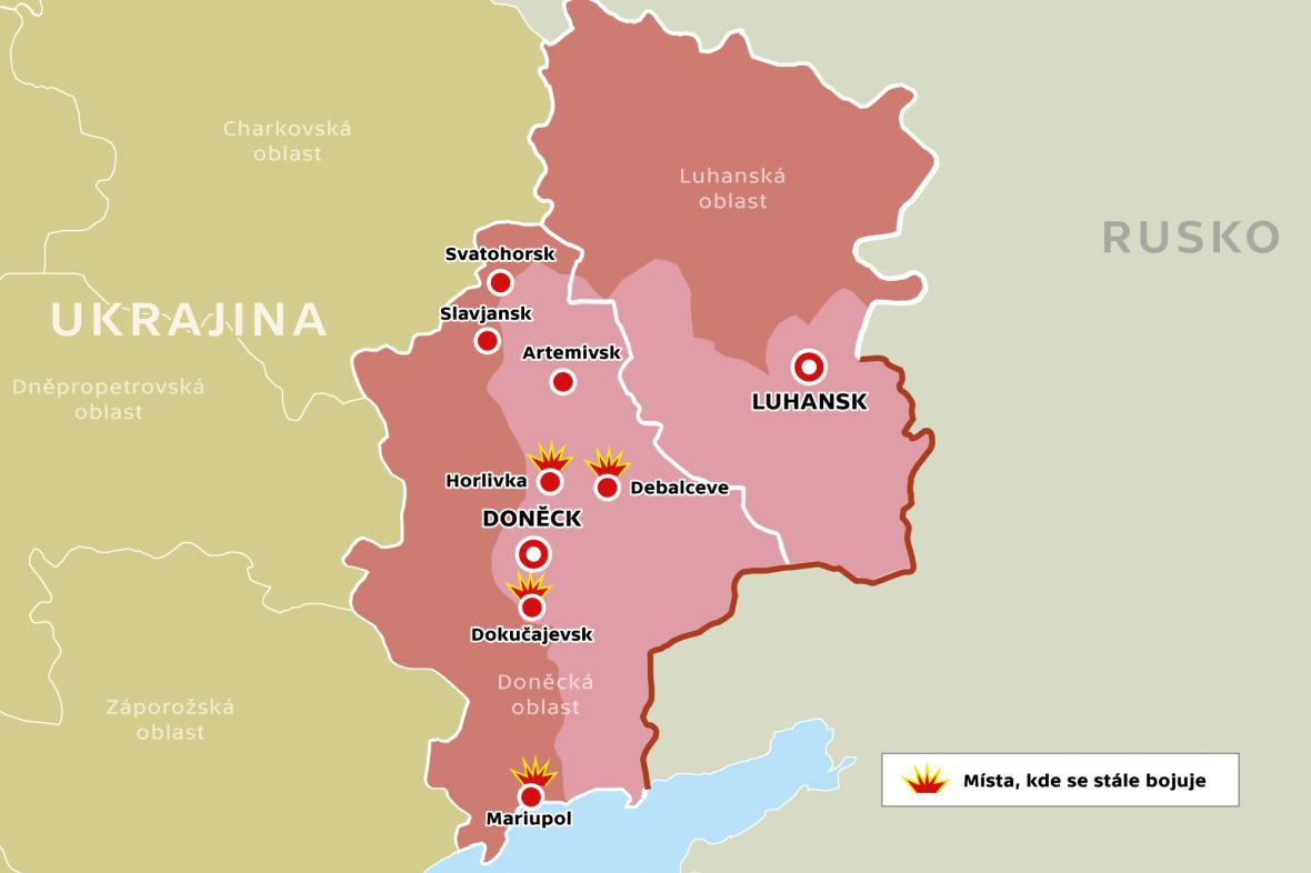 Místa, kde se na východní Ukrajině stále bojuje