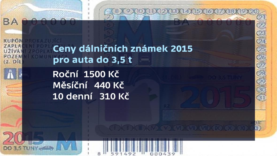Ceny dálničních známek 2015 pro automobily do 3,5 t
