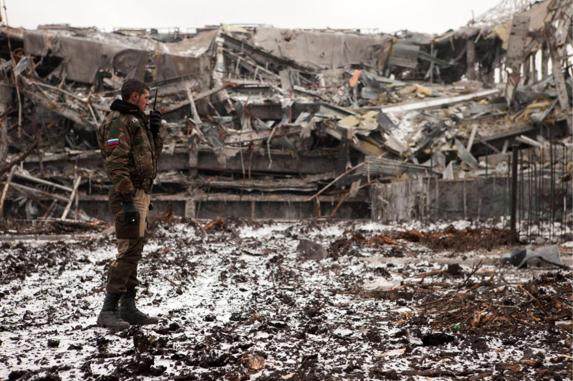 Zničené letiště v Doněcku