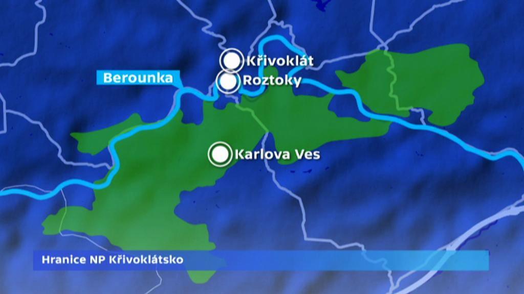 Křivoklátsko - předpokládané hranice národního parku