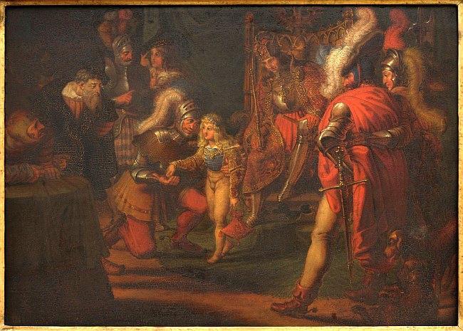 Karl Russ / Malý Ladislav Pohrobek obdarovává hrdinného Jiskru, 1818