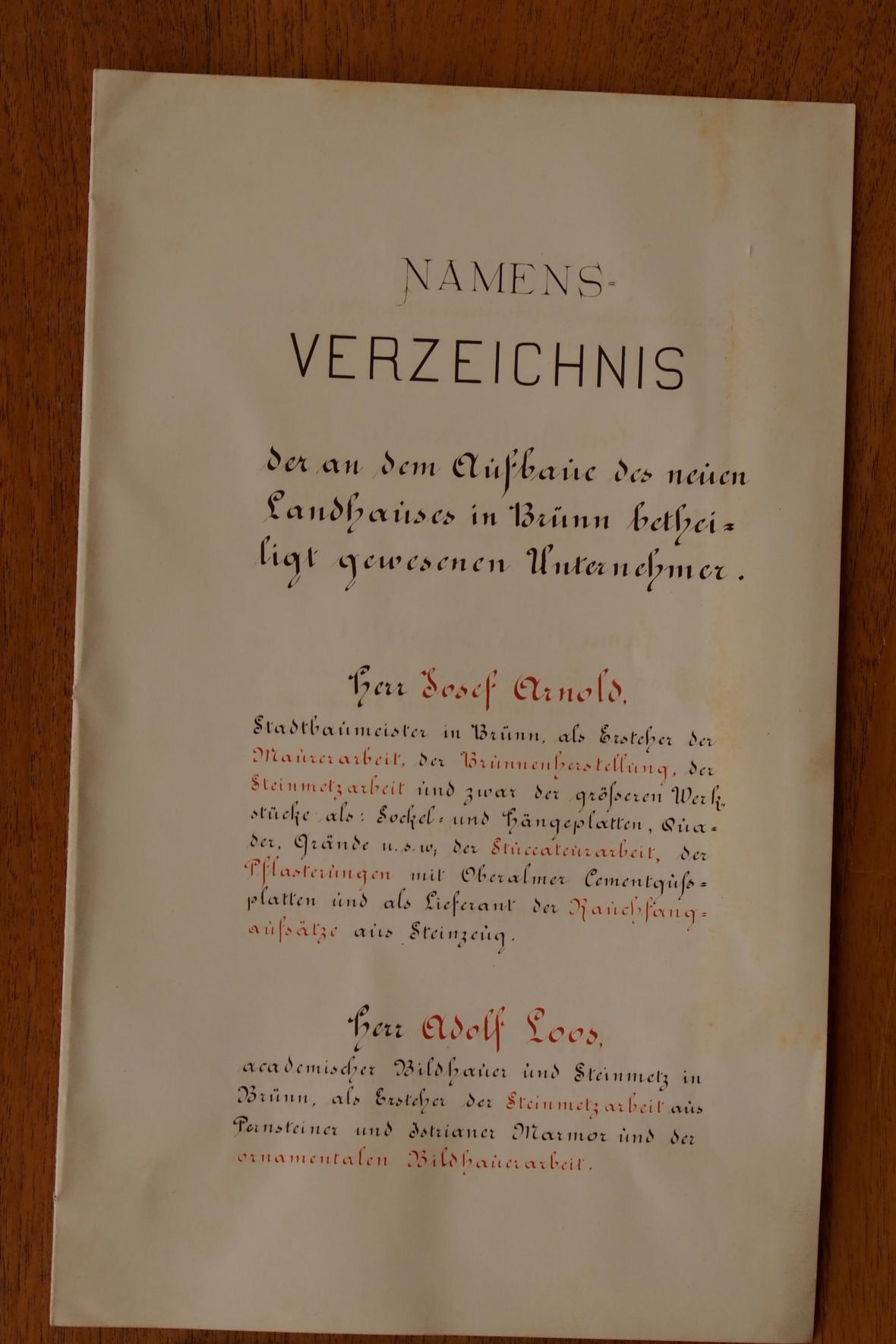 Dokumenty ze závěrečného kamene stavby Zemské sněmovny