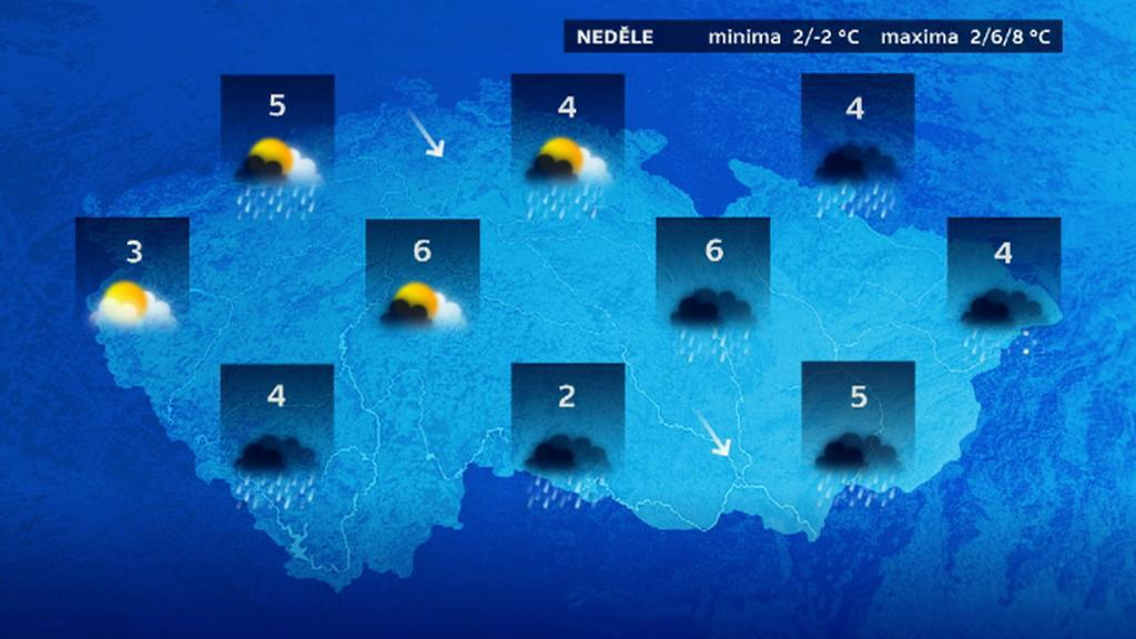 Nedělní počasí v ČR