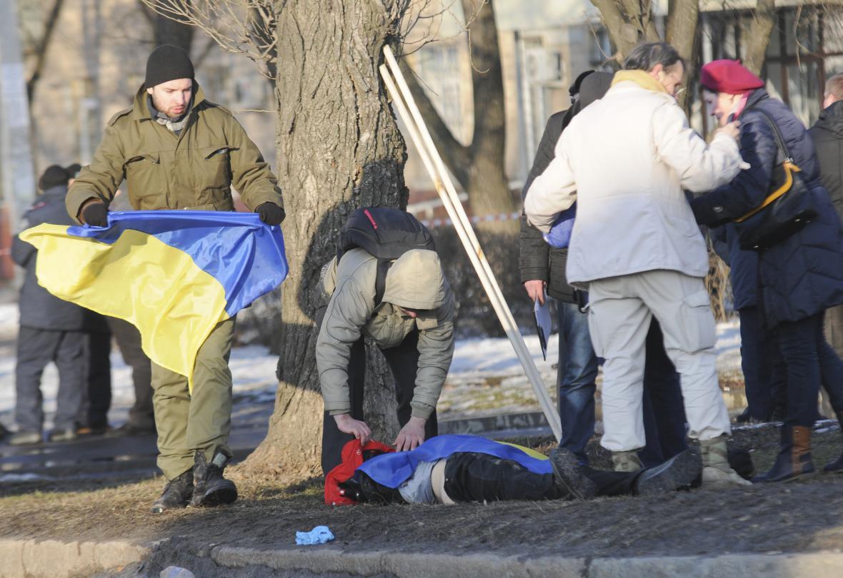 Následky exploze v Charkově