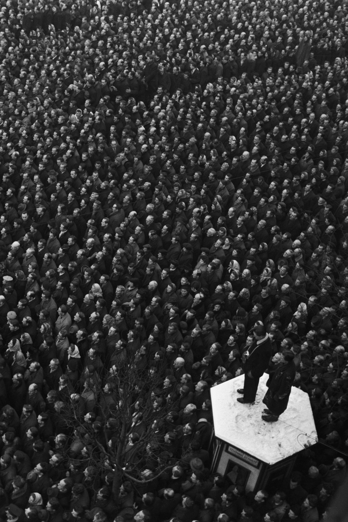 Václavské náměstí v únoru 1948