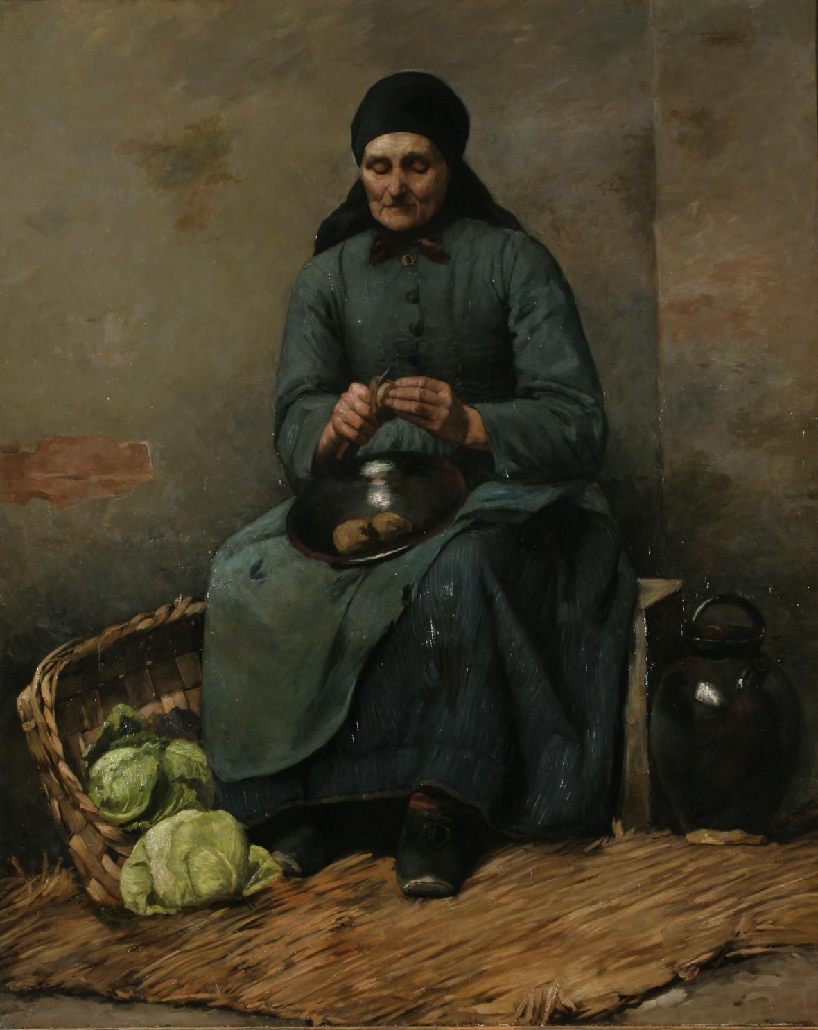 Jakub Schikaneder / Žena loupající brambory, 1887