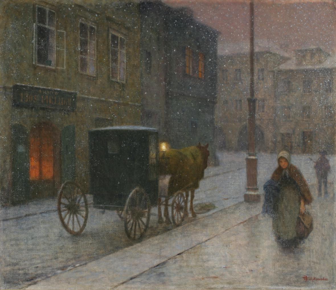 Jakub Schikaneder / Ulice s drožkou, 1900-1910