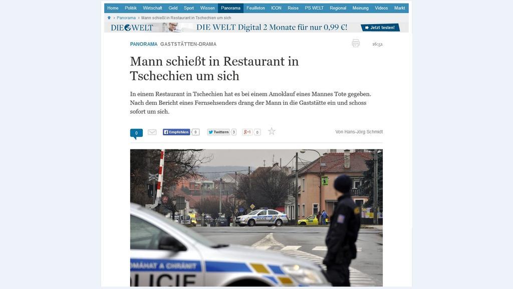 Die Welt informuje o střelbě v Uherském Brodě