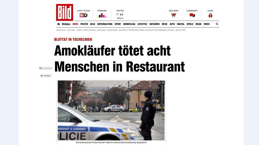 Na německém Bildu se vraždění v ČR dostalo mezi hlavní zprávy