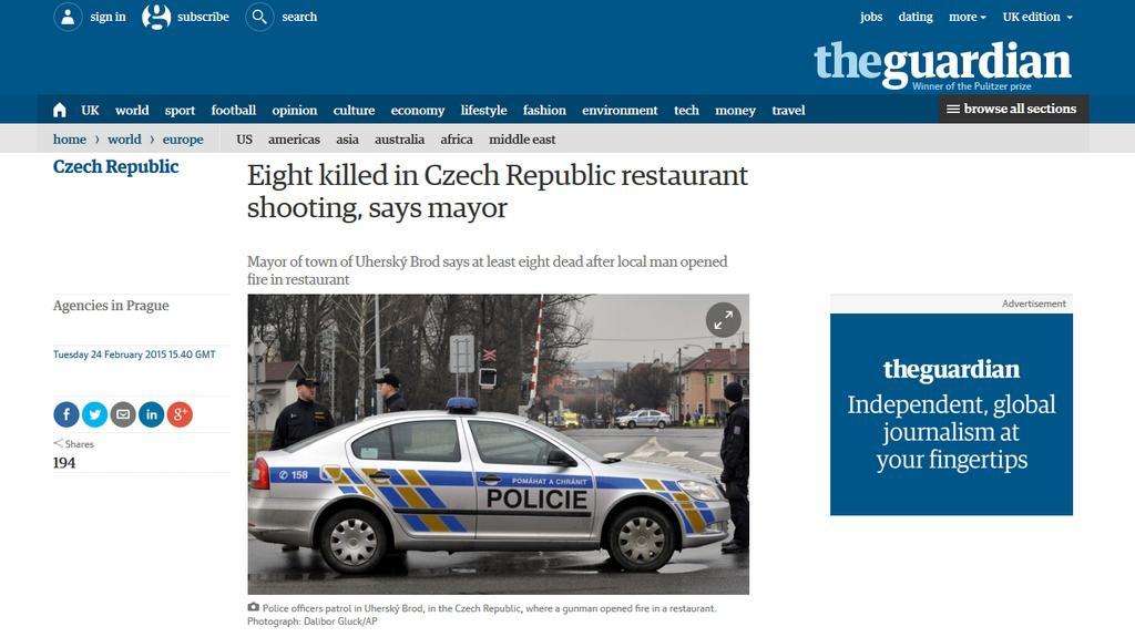 Incident neušel ani britskému Guardianu