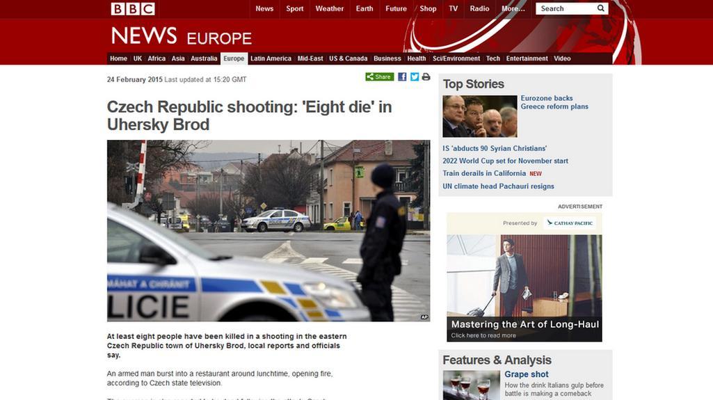 Web BBC informuje o tragédii v Uherském Brodě