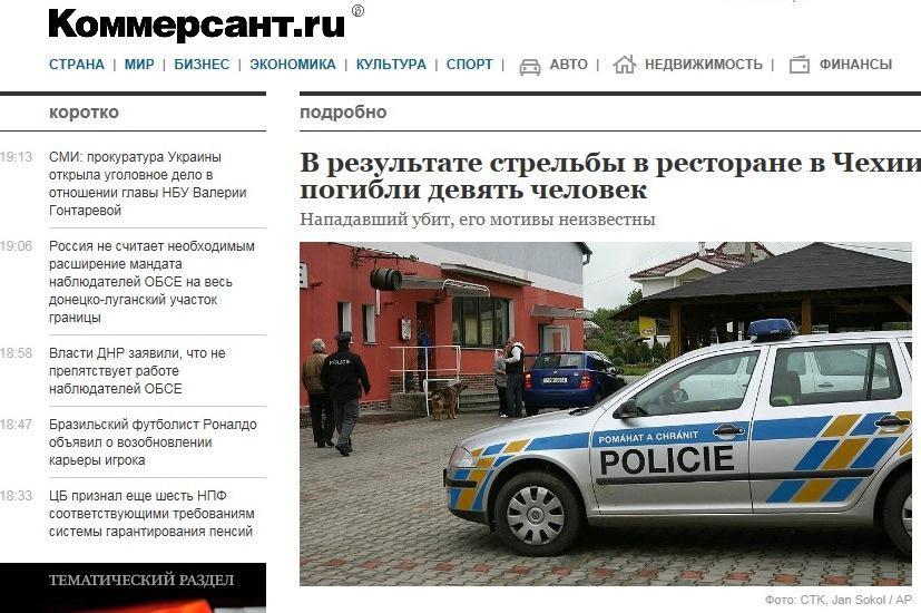 Zpráva o střelbě v on-line vydání ruského deníku Kommersant