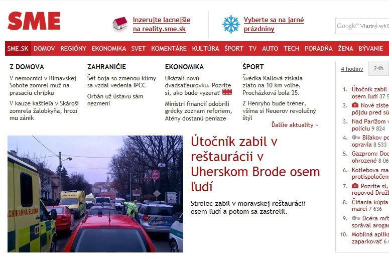 Web deníku SME umístil střelbu na pozici hlavní zprávy