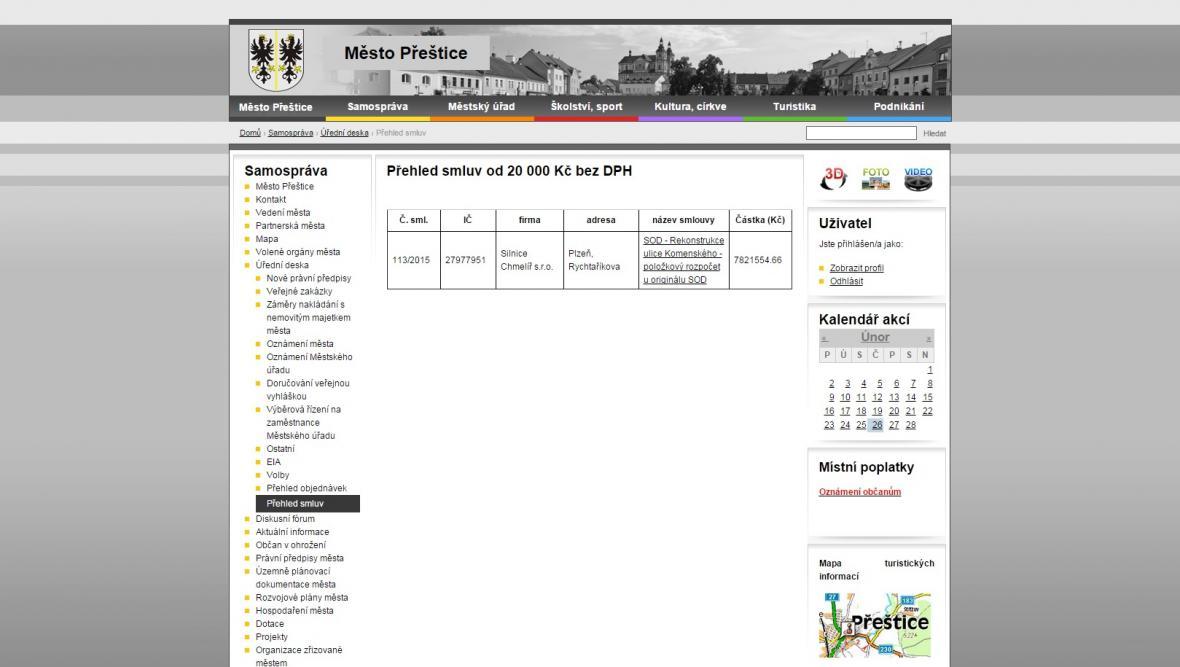 Přeštice umisťují smlouvy a objednávky na web