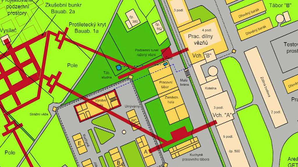 Plán továrny a tábora v Rychnově u Jablonce n. Nisou