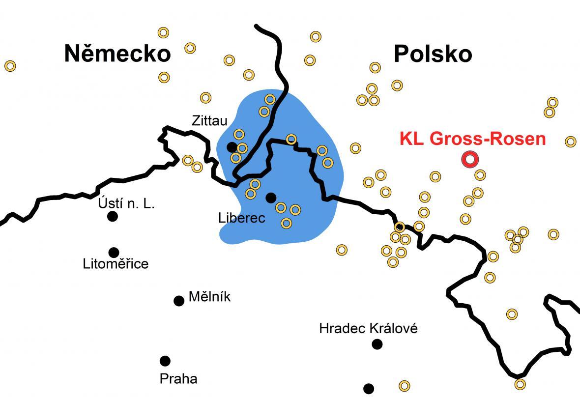 Mapa táborů a válečných továren z 2. světové války