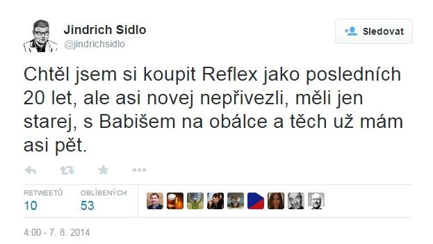 Tweet Jindřicha Šídla