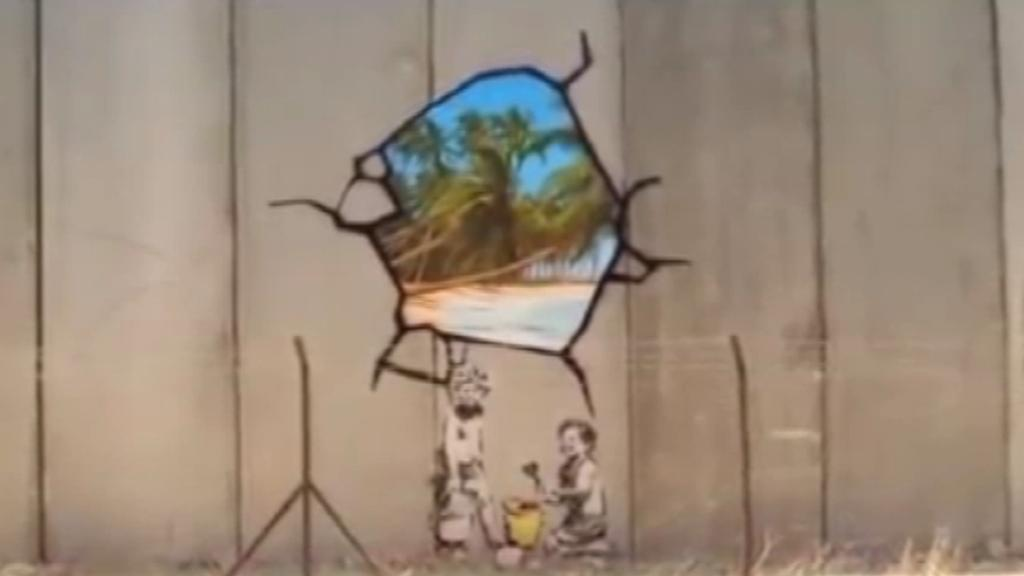 Banksyho graffiti na Západním břehu Jordánu