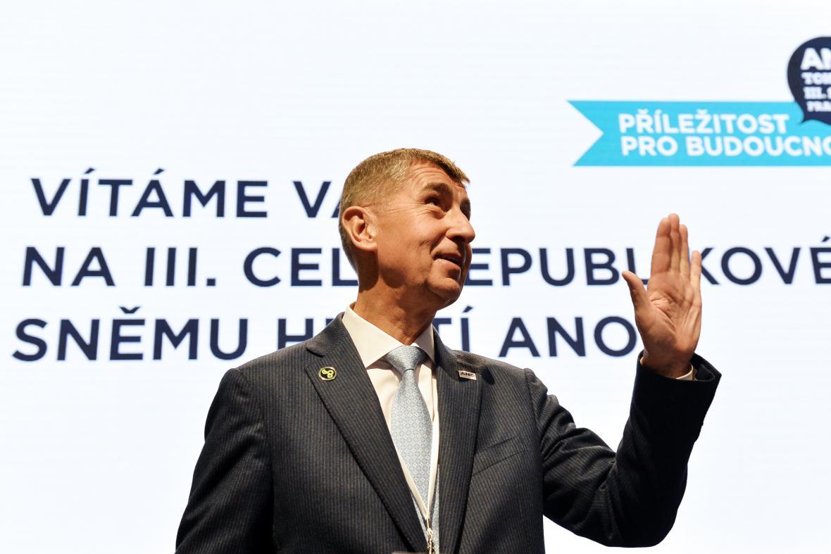 Andrej Babiš na sněmu hnutí ANO