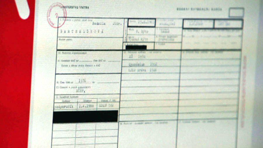 Karta přijetí Jarmily Kleslové (Bartheldyové) z MV