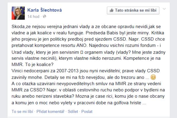 Karla Šlechtová kritizuje na Facebooku koaliční spolupráci