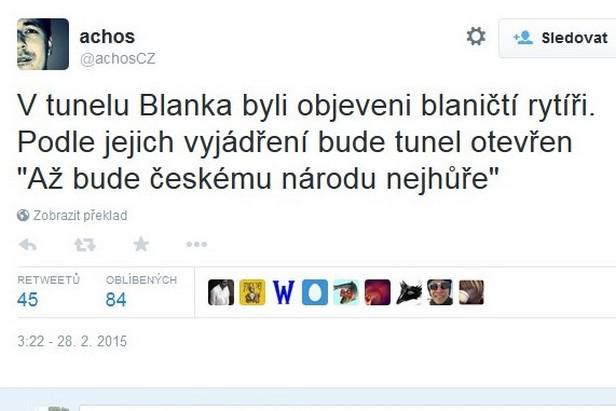 Tweet o tunelu Blanka