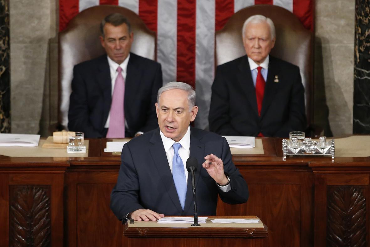 Benjamin Netanjahu při projevu před Kongresem USA
