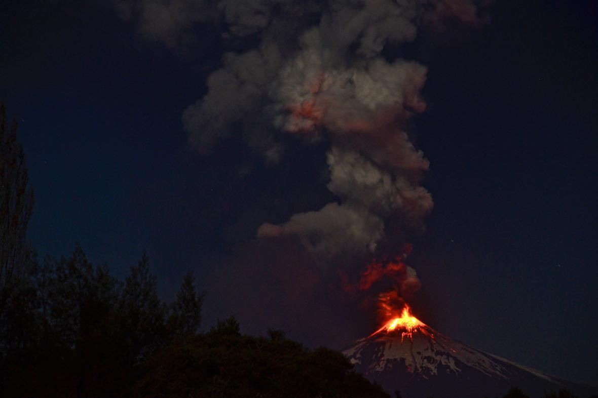 Erupce chilské sopky Villarrica