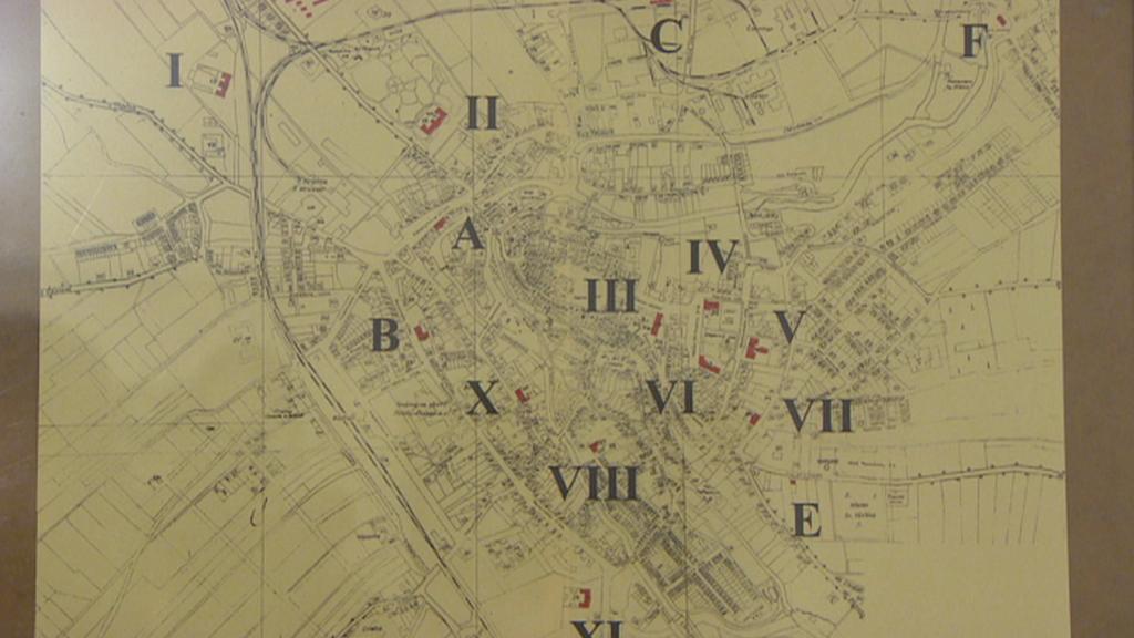 Mapa lazaretů v Chrudimi za první světové války