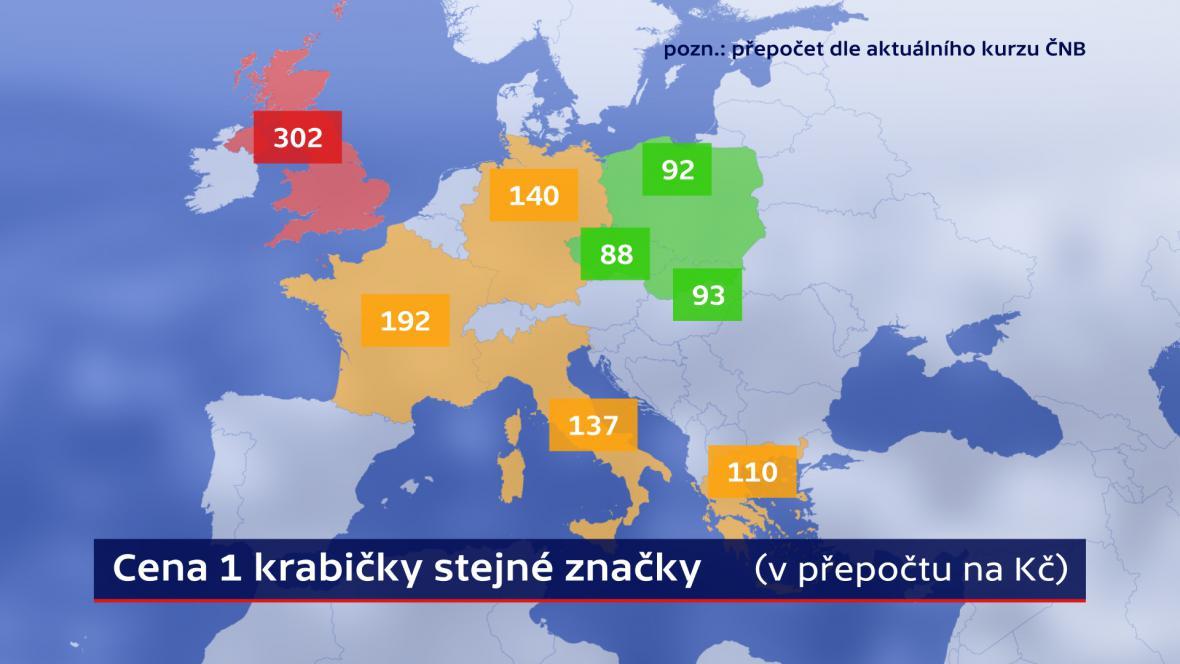Cena stejné krabičky cigaret v Evropě