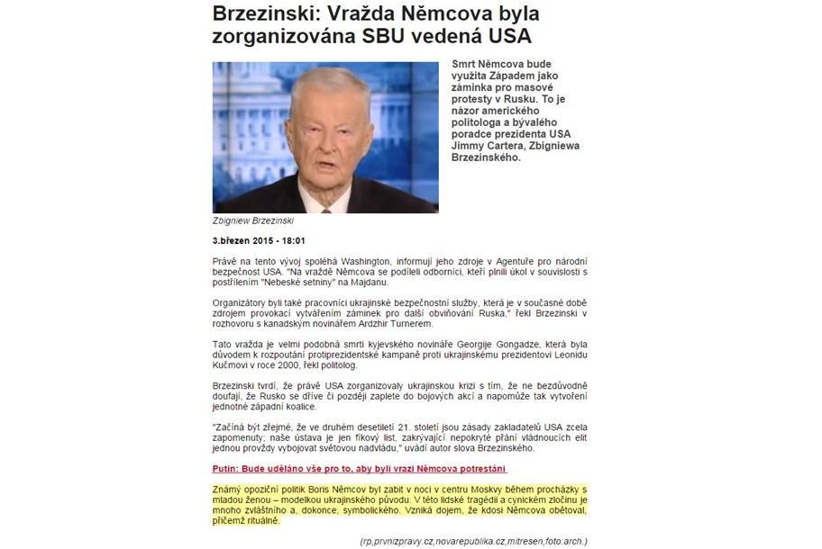 Weby informují o rozhovoru s Brzezinským