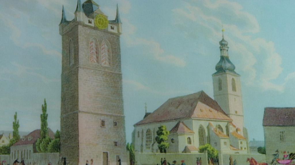 Dobový pohled na Jindřišskou věž a kostel sv. Jindřicha