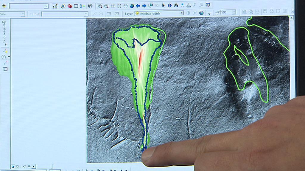 Počítačový model dosahu laviny v Modrém dole (Jan Blahůt)