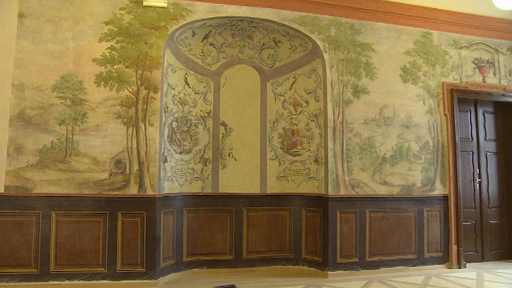 Opravený interiér broumovského kláštera