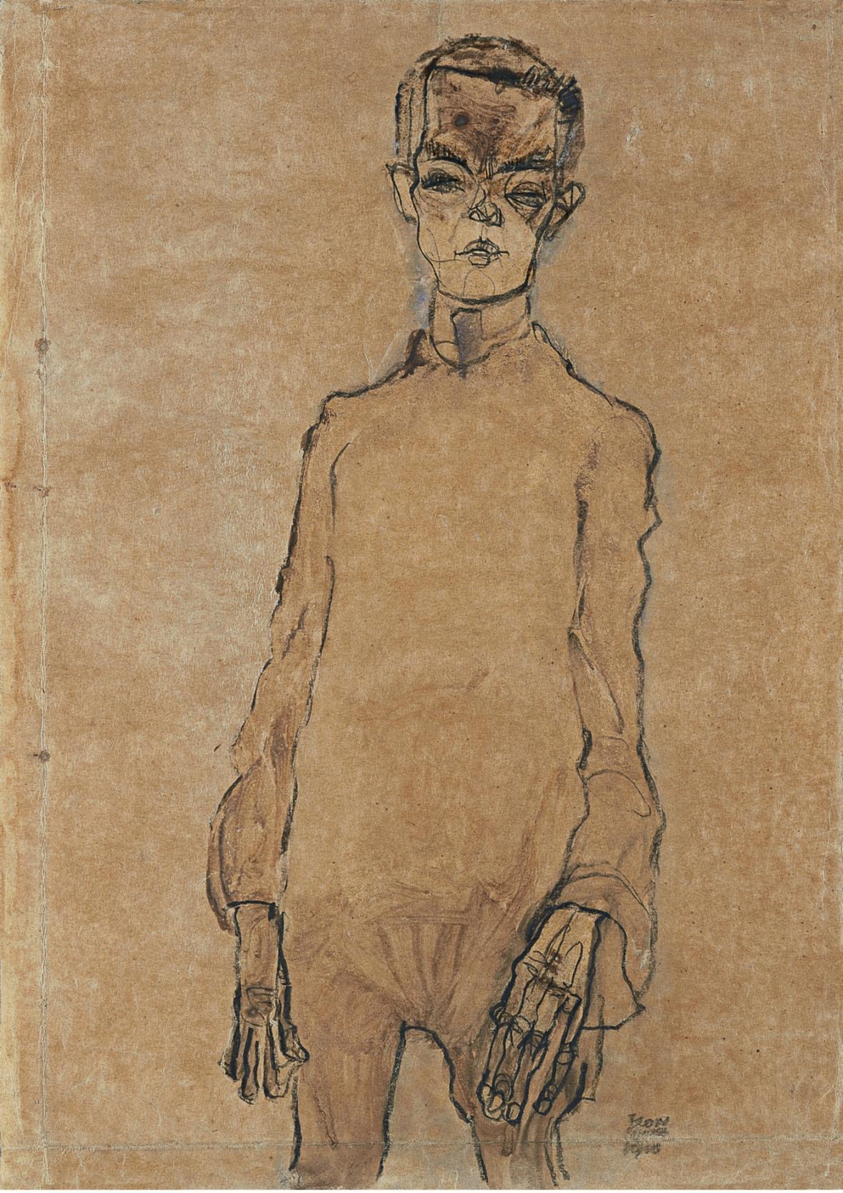 Autoportrét Egona Schieleho (1910)