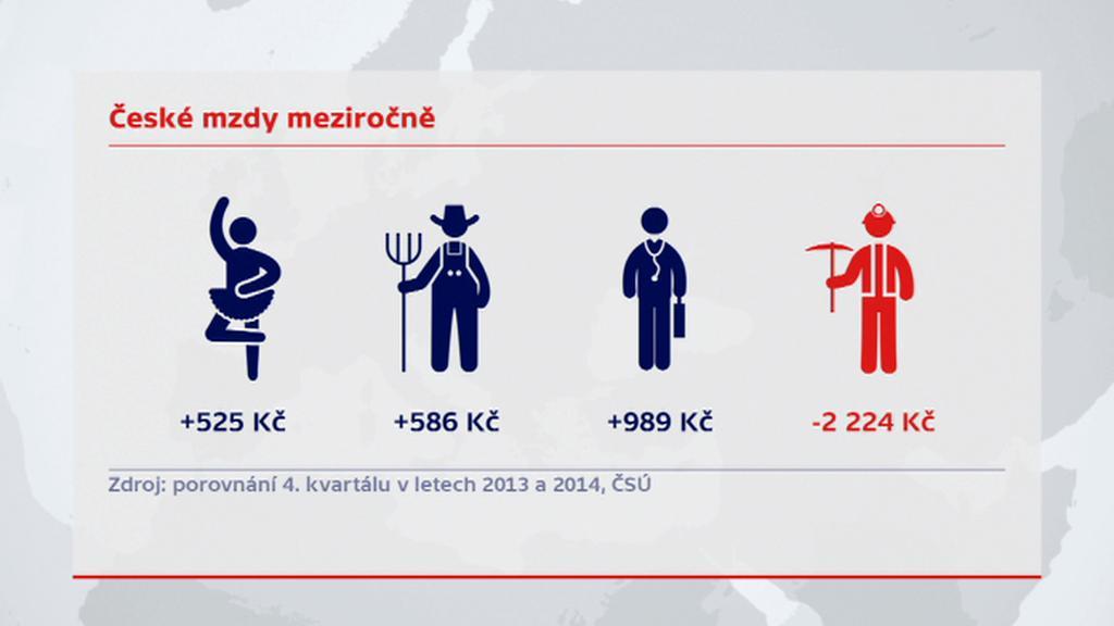České mzdy meziročně