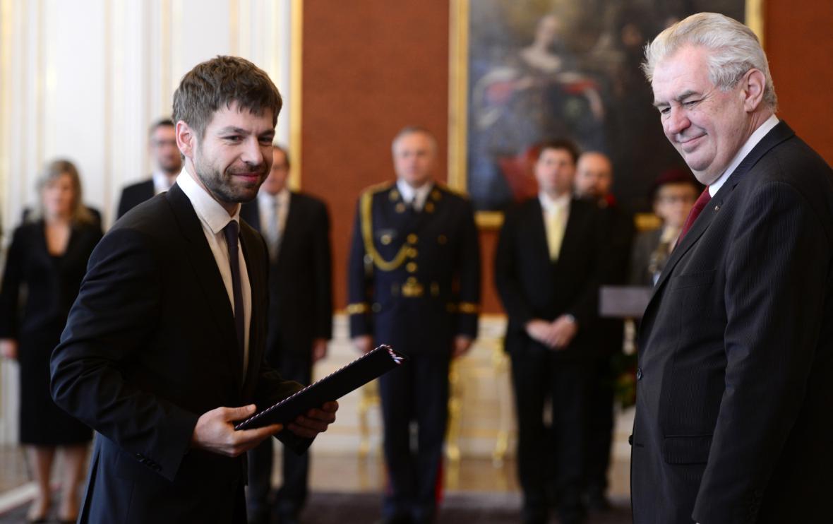 Ministr spravedlnosti Robert Pelikán a prezident Miloš Zeman