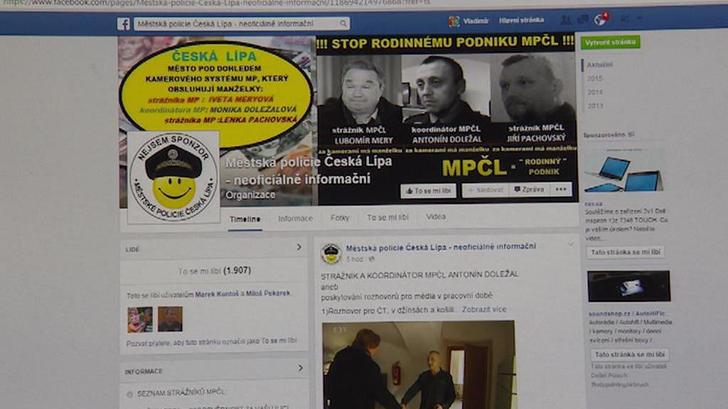 Stránka, kde Karel Šiktanc strážníky kritizoval