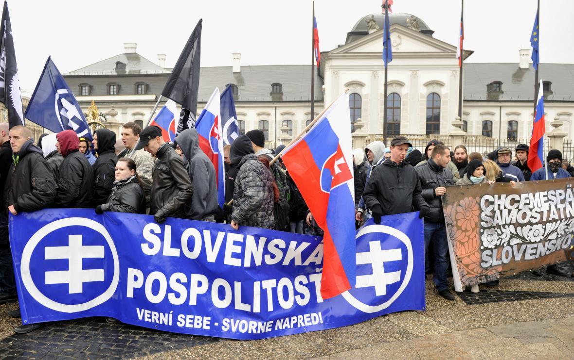 Přívrženci extremistického hnutí Slovenská pospolitost